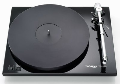 Thorens TD 203 hoogglans zwart platenspeler